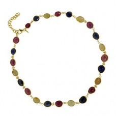 Oval Multi Color Sapphire Sterling Silver 75 Cts Necklace