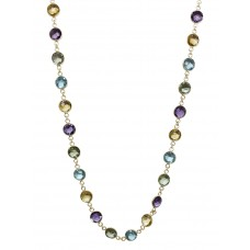 Round Multi Color Multi Stone Sterling Silver 55 Cts Necklace