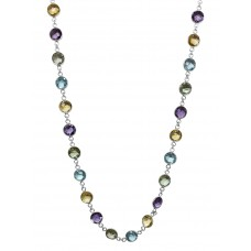 Round Multi Color Multi Stone Link Style Sterling Silver 55 Cts Necklace