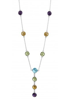 Cushion / Round Shape Multi Color Multi Stone Station Style Sterling Silver 19.7 Cts Necklace