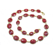 Oval Red Ruby Corundum Link Style Sterling Silver 160 Cts Necklace