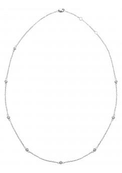 25pts Fine White Diamond 14K White Gold Diamond By Yards Necklace