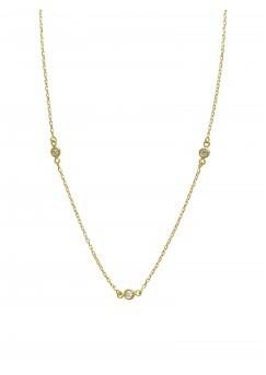 25pts Fine White Diamond 14K Yellow Gold Diamond By Yards Necklace