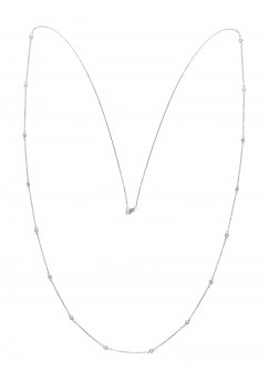 50pts Fine White Diamond 14K White Gold Diamond By Yards Necklace