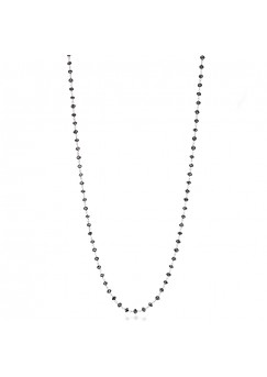 14K White Gold Black Rosary Beads Diamond Necklace 10 CTS