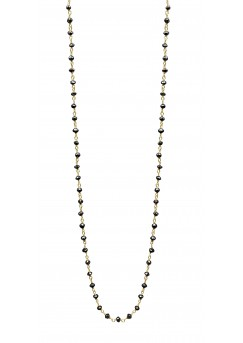 5 Cts Fine Black Diamond 14K Yellow Gold Wire Wrapped Bead Necklace