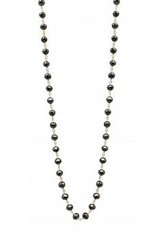 14K White Gold Black Diamond Mirror Cut Necklace 65 ct