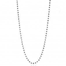 14K White Gold Black Rosary Beads Diamond Necklace 6-7 cts