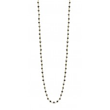 14K Yellow Gold Black Rosary Beads Diamond Necklace 6-7cts