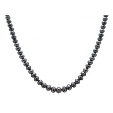 100 Cts Fine Black Solid Diamond Beads 14K White Gold Diamond Bead Necklace