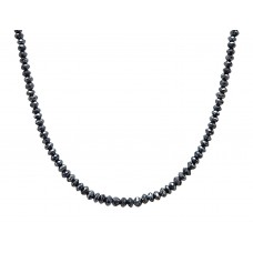 120 Cts Fine Black Solid Diamond Beads 14K White Gold Diamond Bead Necklace