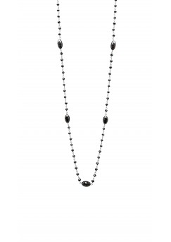 14K White Gold Black Diamond Rosary Beads with Marquise in between Style Necklace 10CT