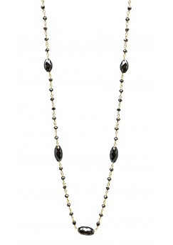 """14K Yellow Gold Black Diamond Rosary Beads with Marquise in between Style Necklace 10CT 18"""""""
