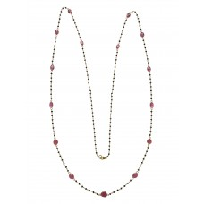 14 Cts Fine Black Diamond & Ruby 14K Yellow Gold Sliced Diamond Necklace