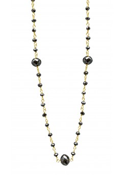10 Cts Fine Black Diamond 14K Yellow Gold Wire Wrapped Bead Necklace