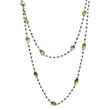 13.5 Cts Fine Black Diamond & Yellow Sapphire 14K White Gold Sliced Diamond Necklace