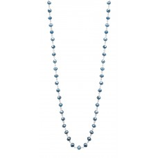 """14K White Gold Blue Rosary Beads Diamond Necklace 10CT 18"""""""