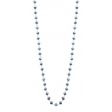 """14K White Gold Blue Rosary Beads Diamond Necklace 5CT 16"""""""