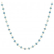 12 Cts Fine Blue Diamond 14K Yellow Gold Wire Wrapped Bead Necklace