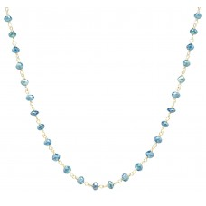 6 Cts Fine Blue Diamond 14K Yellow Gold Wire Wrapped Bead Necklace