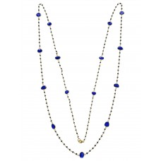 17.45 Cts Fine Blue Diamond & Blue Sapphire 14K Yellow Gold Sliced Diamond Necklace