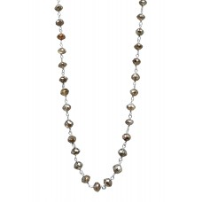 """14K Yellow Gold Champagne Rosary Beads Diamond Necklace 16CT 18"""""""