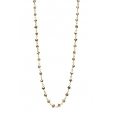7 Cts Fine Champagne Diamond 14K Yellow Gold Wire Wrapped Bead Necklace