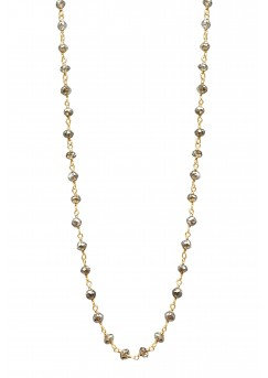 """14K Yellow Gold Champagne Rosary Beads Diamond Necklace 7CT 18"""""""