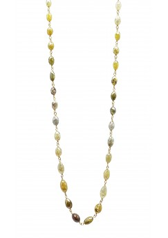 """14K Yellow Gold Mix Color Rosary Beads Marquise Shape Necklace 15CT 18"""""""