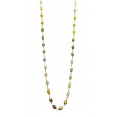 18 Cts Fine Colored Diamond 14K Yellow Gold Wire Wrapped Bead Necklace