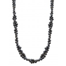 58 -65CTS Cts Fine Black Solid Diamond Beads 14K White Gold Diamond Bead Necklace