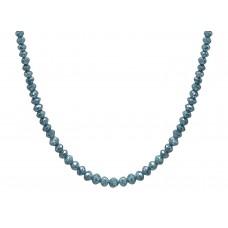 15 Cts Fine Blue Solid Diamond Beads 14K White Gold Diamond Bead Necklace
