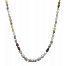 32 Cts Fine Colored Solid Diamond Beads 14K White Gold Diamond Bead Marquise Style Necklace