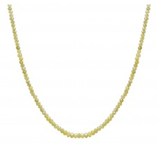 10 Cts Fine Yellow Solid Diamond Beads 14K White Gold Diamond Bead Necklace