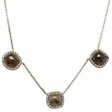 Rose cut Diamond slice necklace