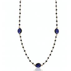Diamond Bead Necklace, Black Diamond, Blue Sapphire Slices, 14K Gold Necklace