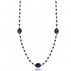 Diamond Bead Necklace, Black Diamond, Blue Sapphire Slices, 14K Gold Necklace