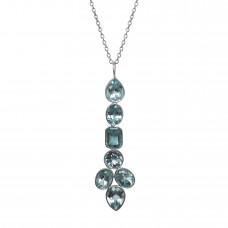 Mix Shape Blue Topaz Long Sterling Silver 10 Cts Pendant