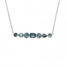 Mix Shape Blue Topaz Bar Style Sterling Silver 6 Cts Pendant