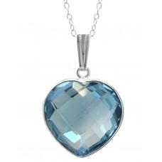 Heart Shape Blue Topaz Bezel Style Sterling Silver 14 Cts Pendant
