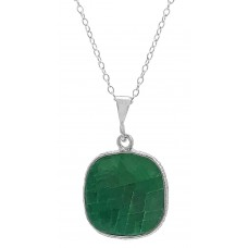 Cushion Shape Green Emerald Basket Style  5 Cts Pendant