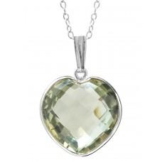 Heart Shape Green Amethyst Bezel Style Sterling Silver 10 Cts Pendant