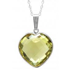 Heart Shape Yellow Lemon Quartz Bezel Style Sterling Silver 10 Cts Pendant