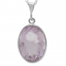 Oval Pink Amethyst Basket Style Sterling Silver 10 Cts Pendant