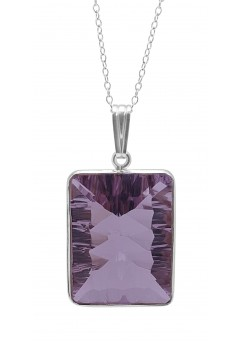 Round Pink Amethyst Basket Style Sterling Silver 15 Cts Pendant