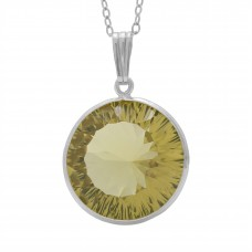 Round Yellow Lemon Quartz Basket Style Sterling Silver 12 Cts Pendant
