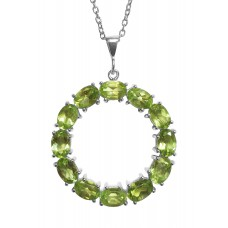 Oval Light Green Peridot Ring Style Sterling Silver 6 Cts Pendant