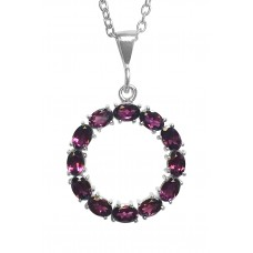 Oval Brown Rodolite Ring Style Sterling Silver 6 Cts Pendant