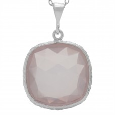 Cushion Shape Pink Rose Quartz Basket Style Sterling Silver 15 Cts Pendant