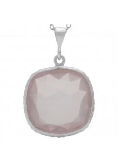 Cushion Shape Pink Rose Quartz Basket Style Sterling Silver 15 Cts Pendant